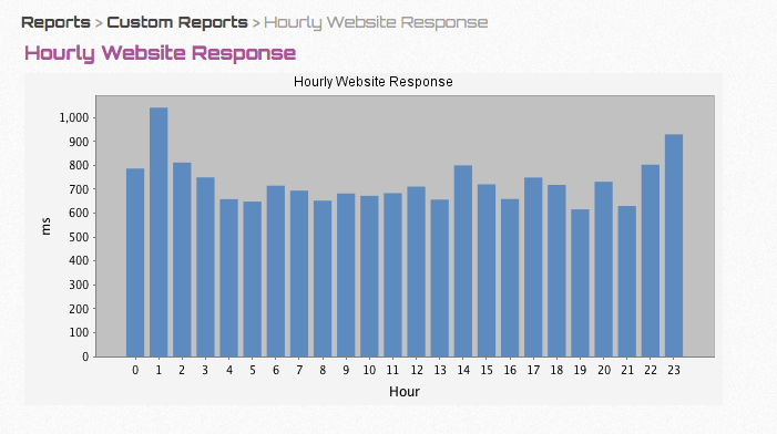 Example report of website response
